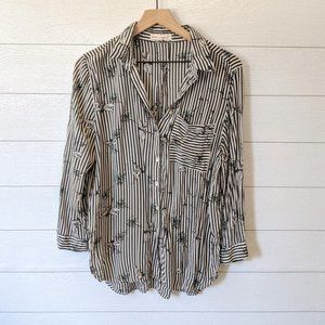 Grand & Greene Striped Dragonfly Blouse M